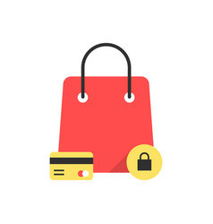 red bag icon like protected shopping vector image vector image