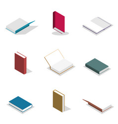set of flat books in 3d vector image vector image