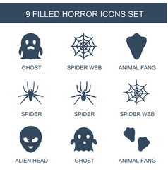 9 horror icons vector