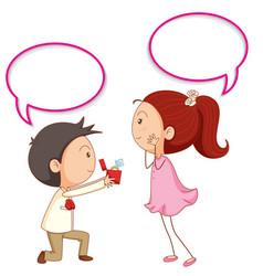 a couple propose with speech balloon vector image