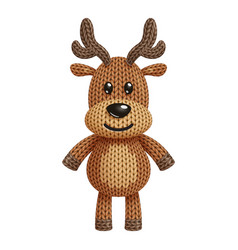 A funny knitted reindeer toy on white background vector