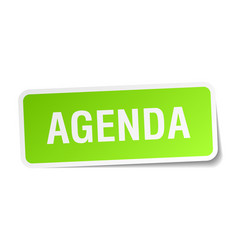 Agenda green square sticker on white background vector