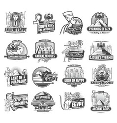 Ancient egypt gods cairo travel and tourism icons vector