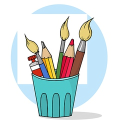 Artist Pot With Pencils And Paintbrushes vector
