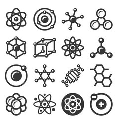 atom and molecule icons set on white background vector image