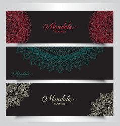 Banners with decorative mandala designs vector