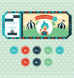 Birthday invitation for kids in ticket style vector
