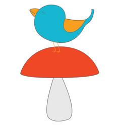 blue bird on mushroom on white background vector image
