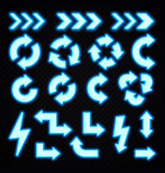 blue neon arrows set on transparent background vector image