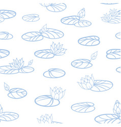 blue water lilies lineart on white seamless vector image
