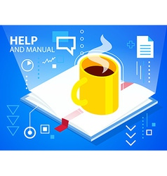 Bright help book and coffee on blue backgrou vector