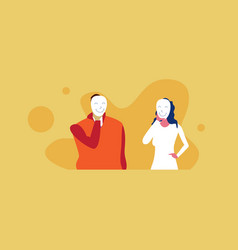 Businesspeople couple hide their emotions under vector