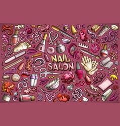 cartoon set of nail salon theme objects vector image