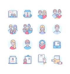 Children home - modern line design style icons vector