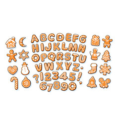 Christmas and new year gingerbread alphabet and vector