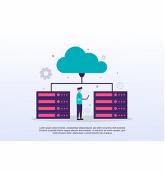 cloud computing concept with tiny people can use vector image