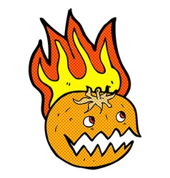 comic cartoon flaming pumpkin vector image