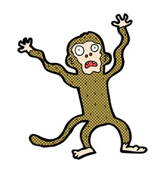 Comic cartoon frightened monkey vector