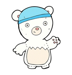 comic cartoon polar bear wearing hat vector image