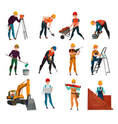 Construction workers set vector