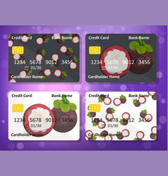 Credit card design with sweet mangosteen vector