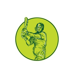 Cricket Player Batsman Batting Drawing vector image