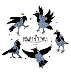 crows in crowns set isolated birds on white vector image