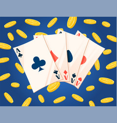 currency and playing cards ace and coins vector image