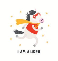 Cute funny horse superhero in mask cape quote vector