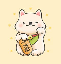 Cute maneki neko lucky cat cartoon hand drawn vector