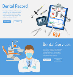 Dental services horizontal banners vector