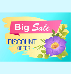 Discount offer big sale advertisement label viola vector