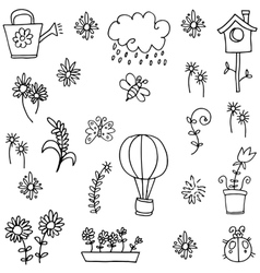 Doodle of spring with rain flower leaf vector