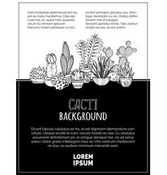 Doodles cacti background vector