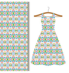 dress fabric with green geometric mosaic vector image