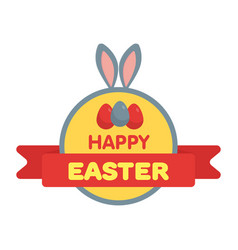 easter eggs label flat style vector image