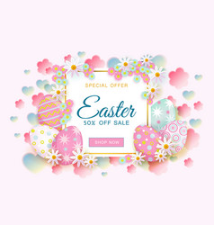 Easter sale banner with text eggs and flowers vector