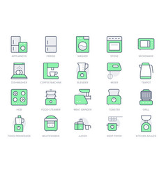 electronic kitchen devices simple line icons vector image