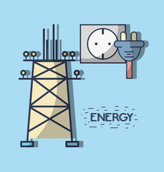 energy tower and electronic cable power vector image