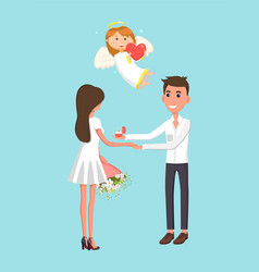 engagement couple and cupid angel valentines day vector image