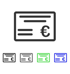 Euro cheque flat icon vector