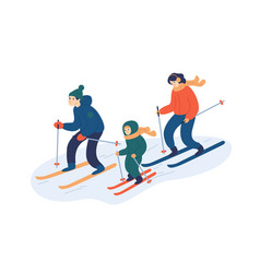 Family skiing together flat vector