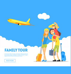 family tour banner template happy parents and vector image