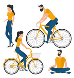 Flat design young man and woman vector