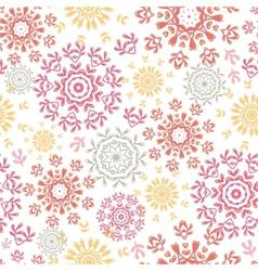 Folk floral circles abstract seamless pattern vector image