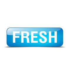 Fresh blue square 3d realistic isolated web button vector