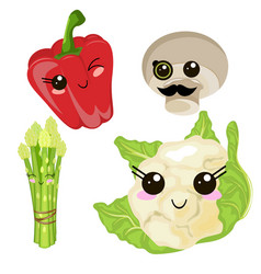 Funny cartoon cute cabbage red ripe pepper green vector