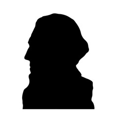 george washington black silhouette on white back vector image