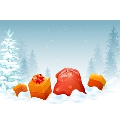 Gift box and bag on snow in winter forest vector image