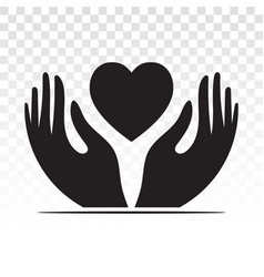 Hand holding heart flat icon for healthcare apps vector